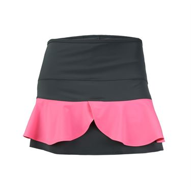 Jerdog Neon Bloom Double Scallop Skirt - Grey/Neon Pink