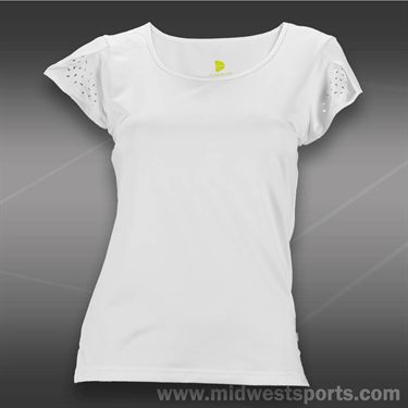 Pure Lime Laser Cut Cap Sleeve Top - White
