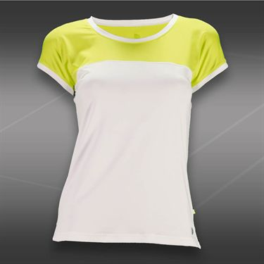 Pure Lime Zest Cap Sleeve Top-White/Bright Lime