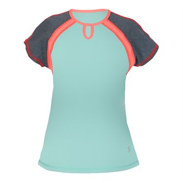 Sofibella Fiji Girls Mock Sleeve Top - Frosted Aqua/Fiji Night