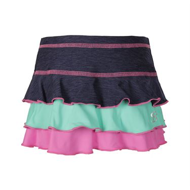Sofibella Nautical Navy Girls Triple Ruffle Skirt - Navy Melange/Seaglass/Aurora Pink