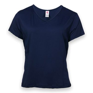 In Between Plus Size Basic V Neck Top- Navy