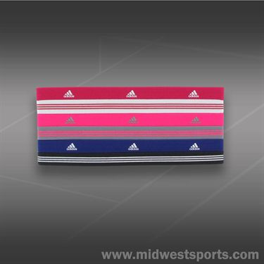 adidas Womens Sidespin Hairband 6 Pack-Bold Pink/Solar Pink/Power Purple