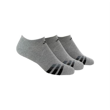 adidas Cushioned No Show Sock (3 pack) - Heathered Light Onix Size