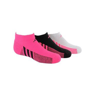 adidas Girls Cushion No Show Sock (3 Pack) - Solar Pink/Black