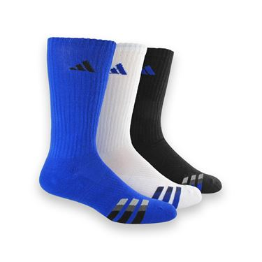 adidas Cushioned 3 Pack Crew Sock - Bold Blue/White/Black