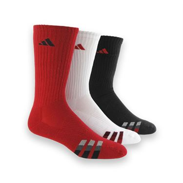 adidas Cushioned 3 Pack Crew Sock - Power Red/White/Black