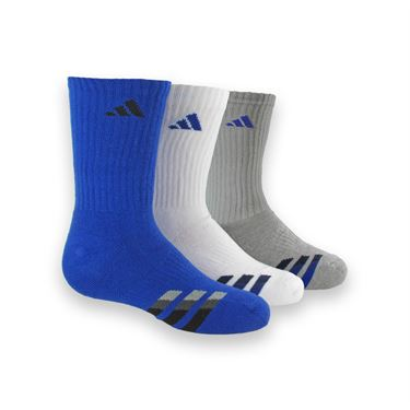 adidas Kids Cushioned Crew Sock (3 Pack) - Bold Blue/White