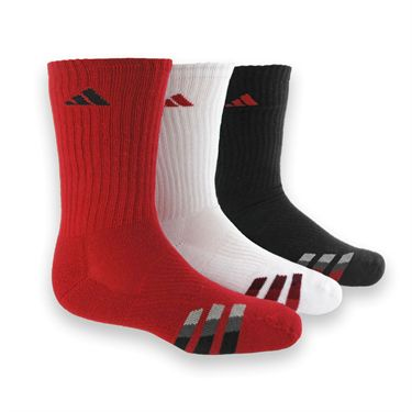 adidas Youth Cushion 3 Pack Crew Sock-Red/Black