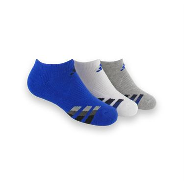 adidas Kids Cushioned No Show Sock (3 Pack) - Bold Blue/Black