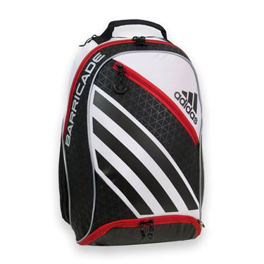 adidas Barricade IV Backpack Tennis Bag - White/Scarlet