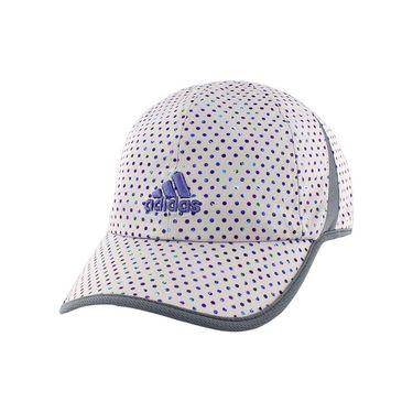 adidas Womens adiZero Extra Hat - White/Purple Dots