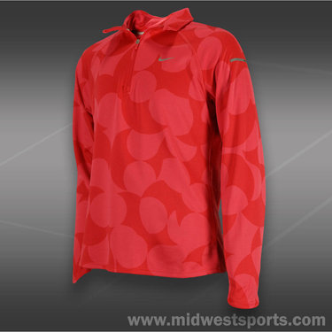 Nike Girls Jacquard Element Half-Zip-Fushion Red
