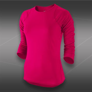 Nike Baseline 3/4 Sleeve Top-Fuchsia Force