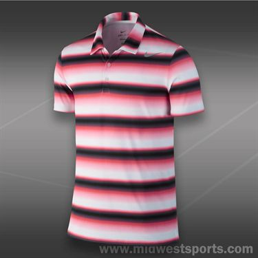 Nike Rally Sphere Stripe Polo- Laser Crimson