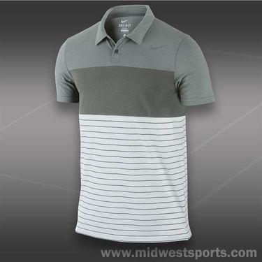 Nike Dri Fit Touch Stripe Polo- Medium Base Grey