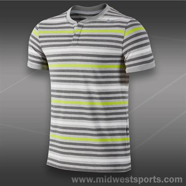Nike Dri Fit Touch Stripe Henley- Birch