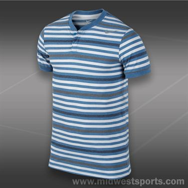 Nike Dri Fit Touch Stripe Henley- Military Blue
