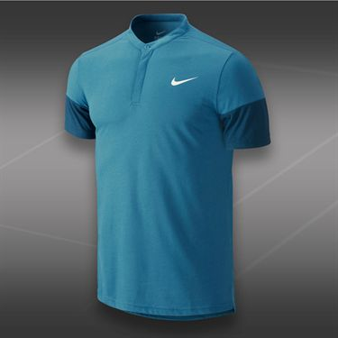 Nike Dri Fit Touch Solid Henley-Rift Blue