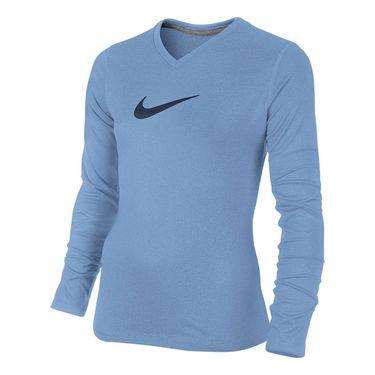 Nike Girls Dry Training Top - Light Blue/Midnight Navy