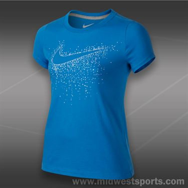 Nike Girls Swoosh Imagery T-shirt-Photo Blue