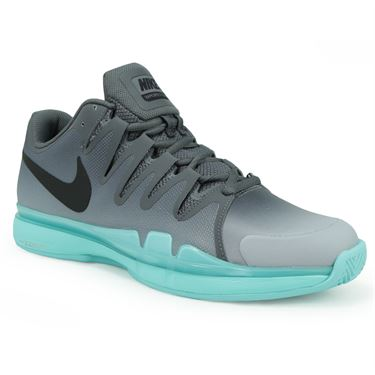 Nike Zoom Vapor 9.5 Tour Clay Mens Tennis Shoe - Dark Grey/Black/Aurora Green/Wolf Grey