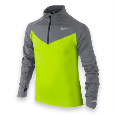 Nike Boys Element 1/2 Zip- Volt/Cool Grey