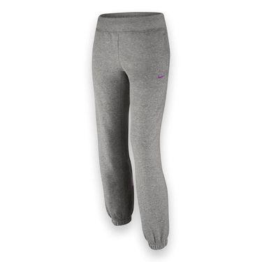 Nike Girls N40 Brushed Fleece Pant - Dark Grey Heather/Vivid Purple