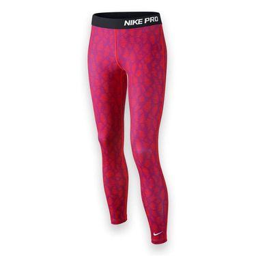 Nike Girls Pro Hyperwarm Flash Tight - Bright Crimson/Black