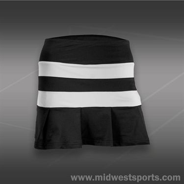 Pure Lime Op Art Stripe Pleat Skirt-Black/White