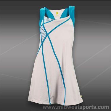 Pure Lime Blue Pinstripe Dress-White/Ocean