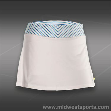Pure Lime Blue Pinstripe Skirt-White