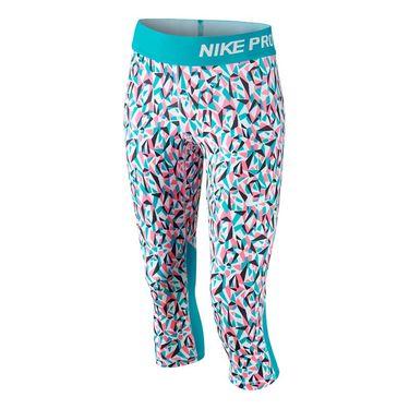 Nike Girls Pro Cool Allover Print Capri-White/Omega Blue