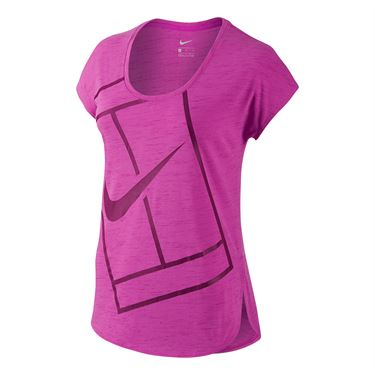 Nike Baseline Short Sleeve Top - Fire Pink/Dynamic Berry