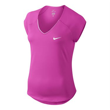 Nike Pure V Neck Top - Fire Pink