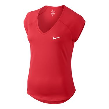 Nike Pure V Neck Top - Action Red