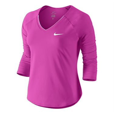 Nike Pure 3/4 Sleeve Top - Fire Pink