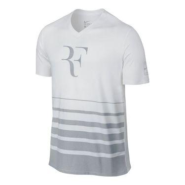 Nike Roger Federer V Neck Shirt - White/Wolf Grey