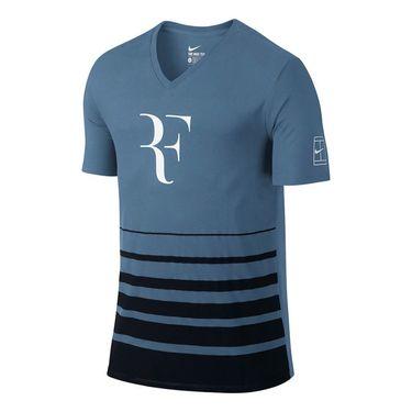 Nike Roger Federer V Neck Shirt - Ocean Fog