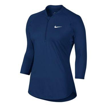 Nike Court Dry 3/4 Sleeve 1/4 Zip - Binary Blue