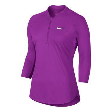 Nike Court Dry 3/4 Sleeve 1/4 Zip - Vivid Purple
