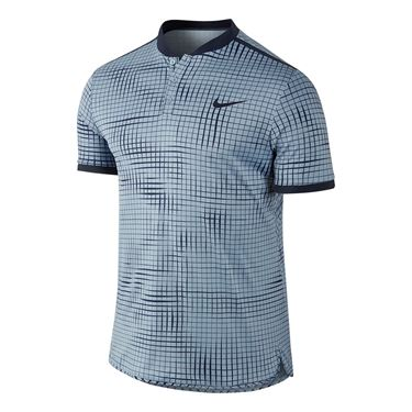 Nike Court Advantage Printed Polo - Blue Grey/Obsidian