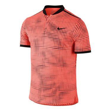 Nike Court Advantage Printed Polo - Bright Mango/Black