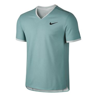 Nike Court Dry RF V Neck - Cannon/Electric Green