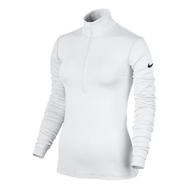 Nike Pro Warm Three Quarter Zip Top - White
