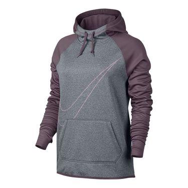 Nike Therma Training Hoodie - Cool Grey Heather /Purple Shade