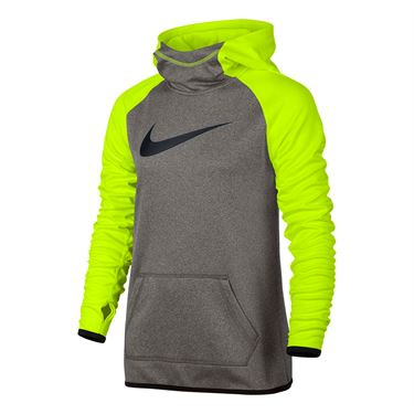 Nike Girls Therma Training Hoodie - Dark Grey Heather/Volt