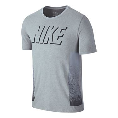 Nike Dri Fit Cotton Static Block Training Tee - Wolf Grey