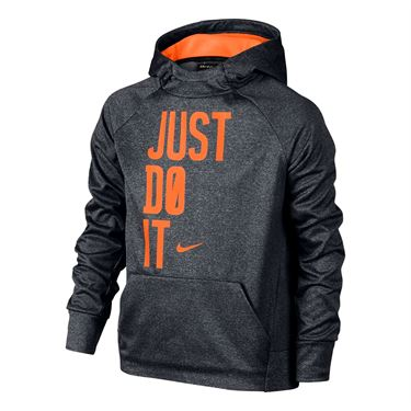 Nike Boys Therma Training Hoodie - Carbon Heather/Total Orange