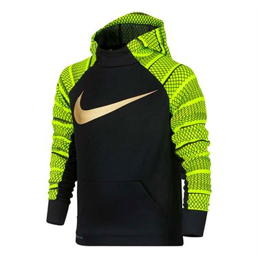 Nike Boys Therma Training Swoosh Hoodie - Black/Volt